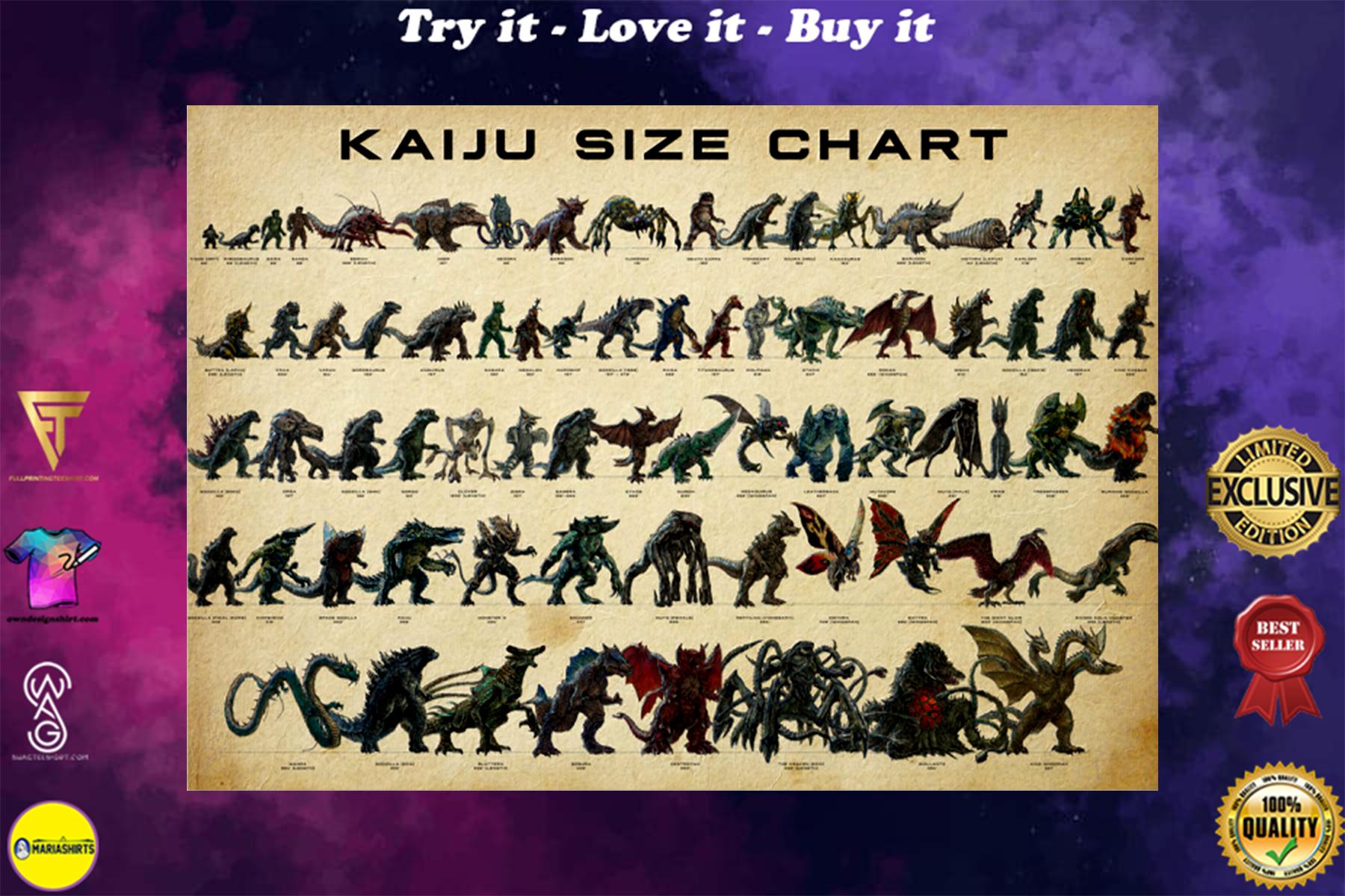 kaiju size chart vintage poster