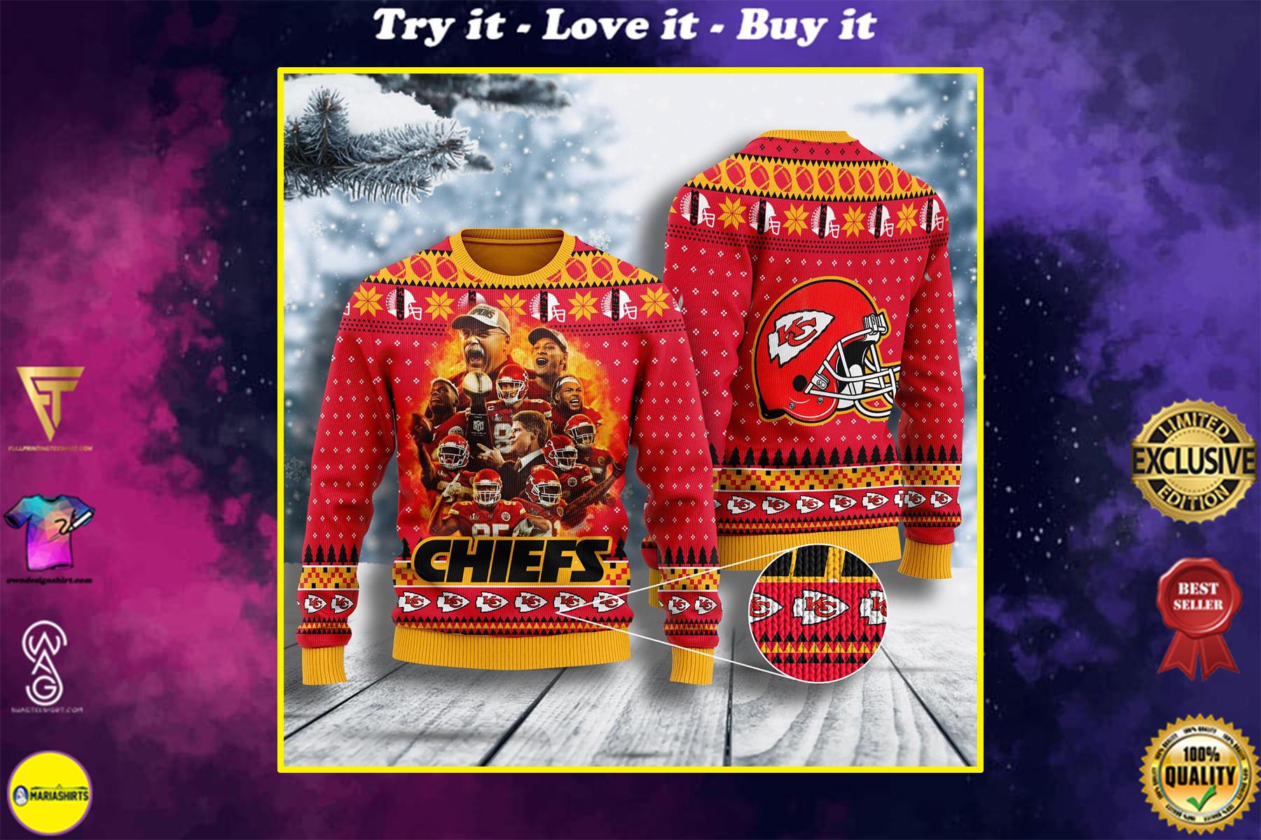 kansas city chiefs football team all over printed ugly christmas sweater