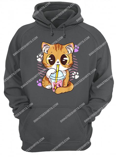 kawaii cat boba bubble milk tea anime neko kitten hoodie 1