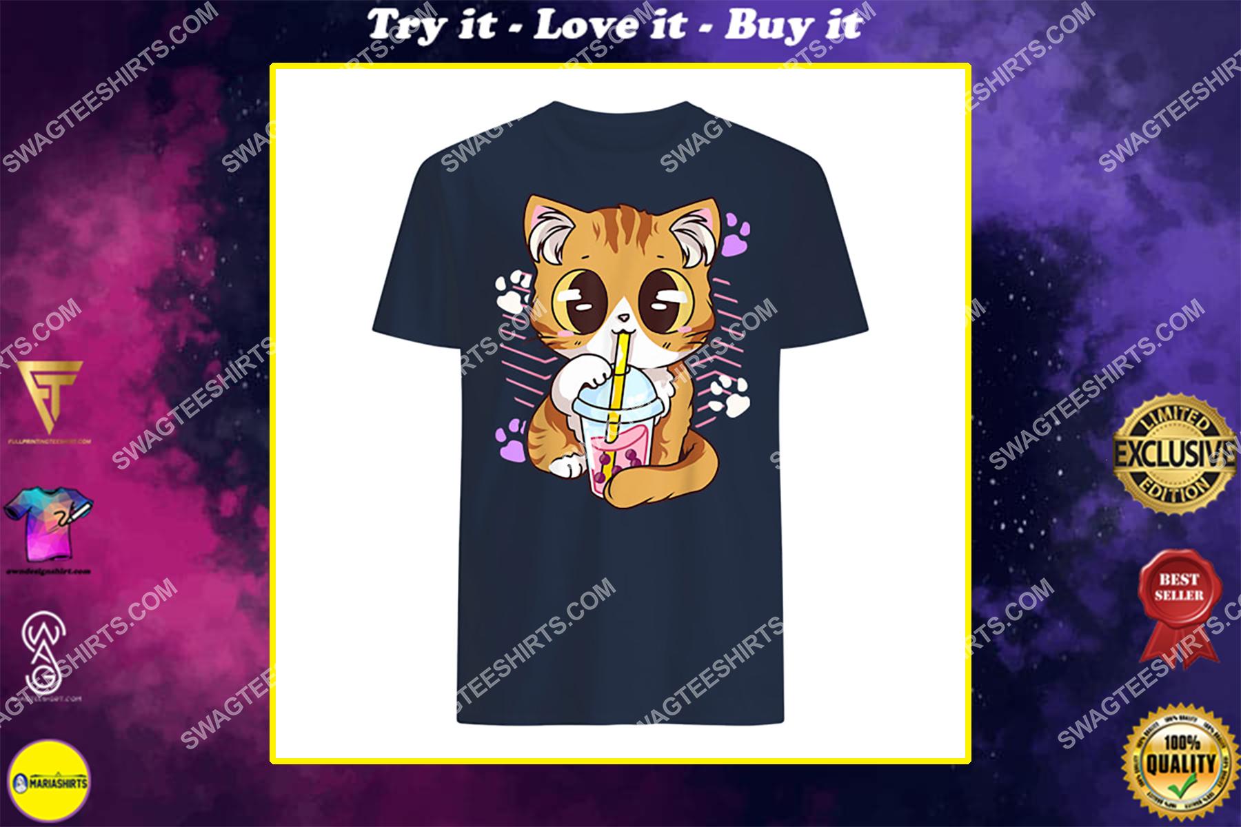kawaii cat boba bubble milk tea anime neko kitten shirt