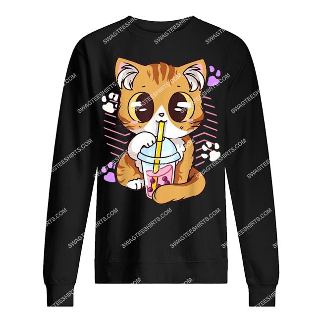 kawaii cat boba bubble milk tea anime neko kitten sweatshirt 1