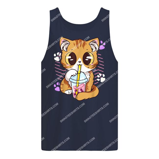 kawaii cat boba bubble milk tea anime neko kitten tank top 1