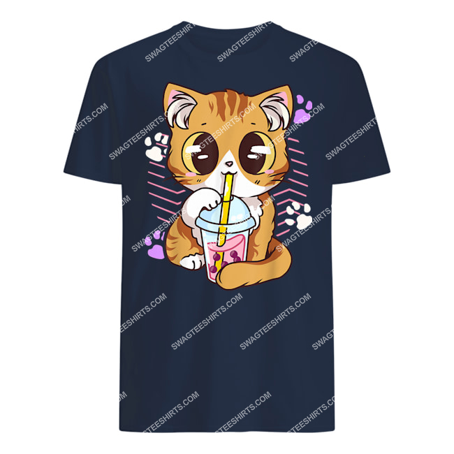 kawaii cat boba bubble milk tea anime neko kitten tshirt 1