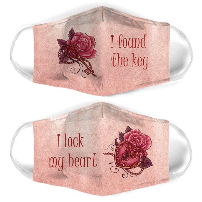 key and lock rose for couple love all over print face mask 2