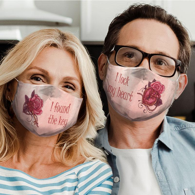 key and lock rose for couple love all over print face mask 5