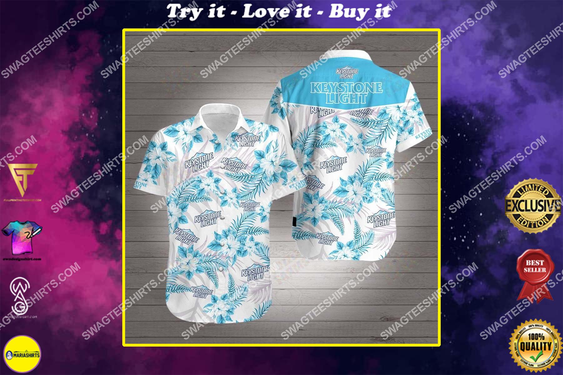 keystone light all over print hawaiian shirt
