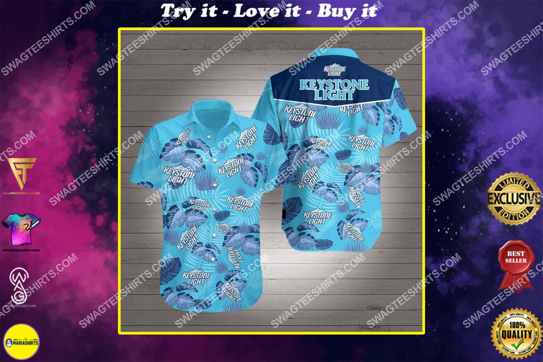 keystone light beer all over print hawaiian shirt