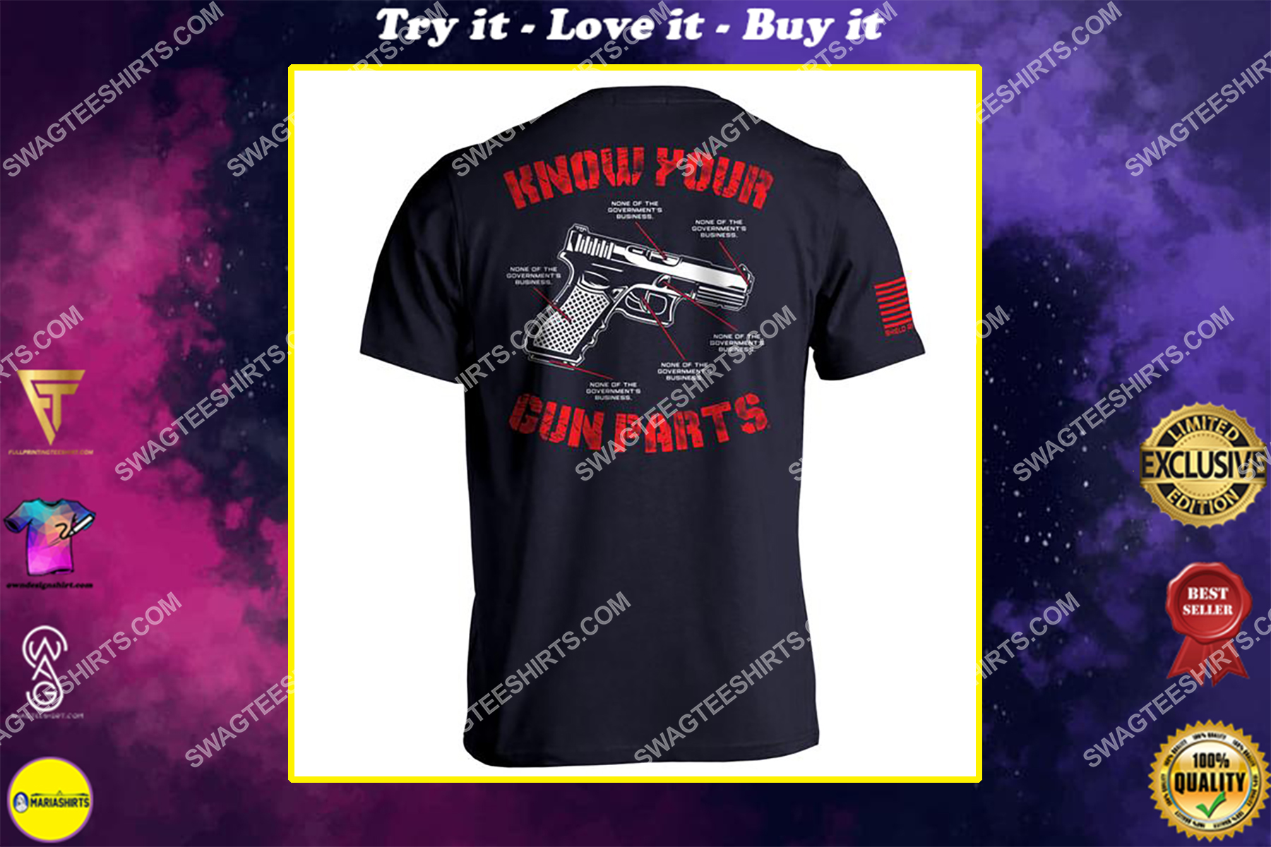 know your gun parts political shirt