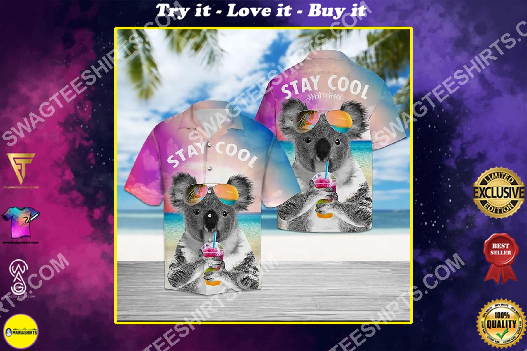 koala stay cool all over printed hawaiian shirt
