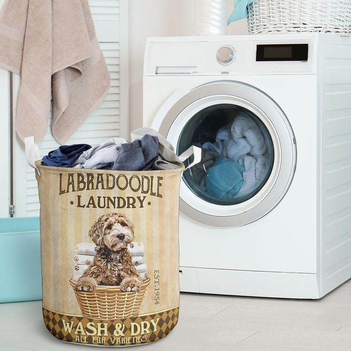 labradoodle dog all over printed laundry basket 2