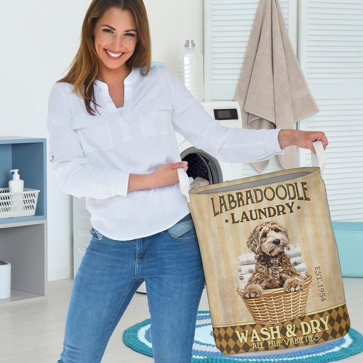 labradoodle dog all over printed laundry basket 3