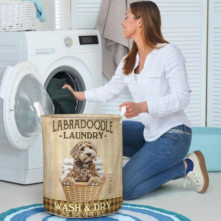 labradoodle dog all over printed laundry basket 4