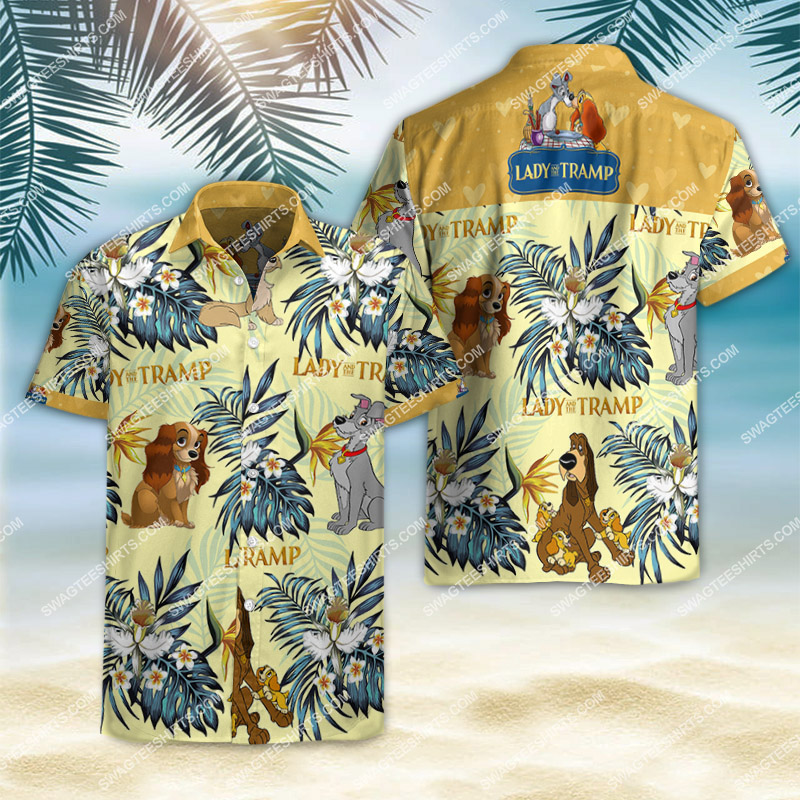 lady and the tramp movie all over print hawaiian shirt 2