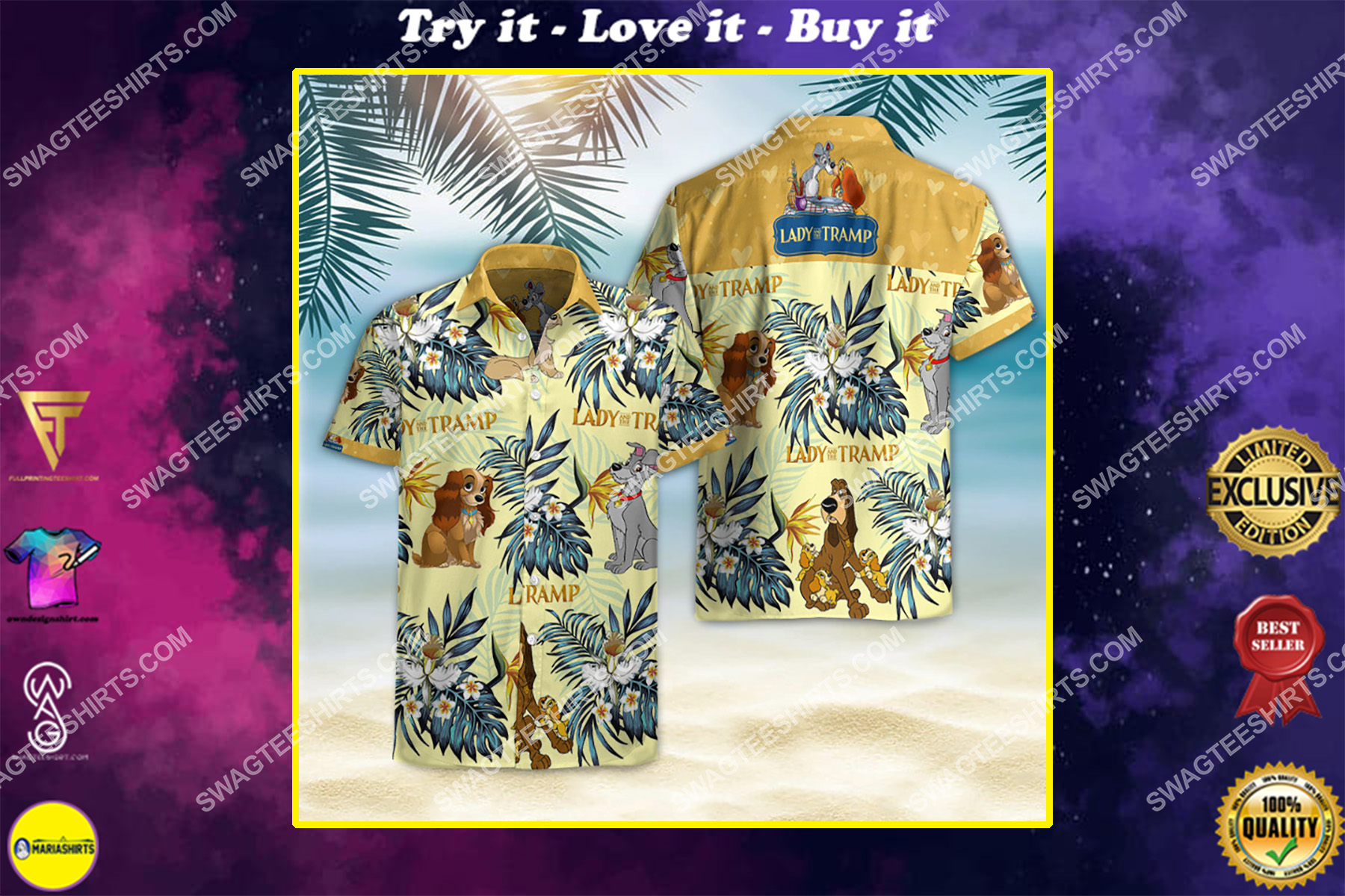 lady and the tramp movie all over print hawaiian shirt
