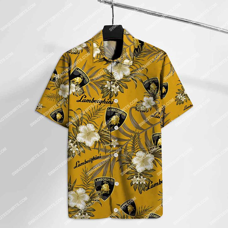 lamborghini logo all over print hawaiian shirt 2