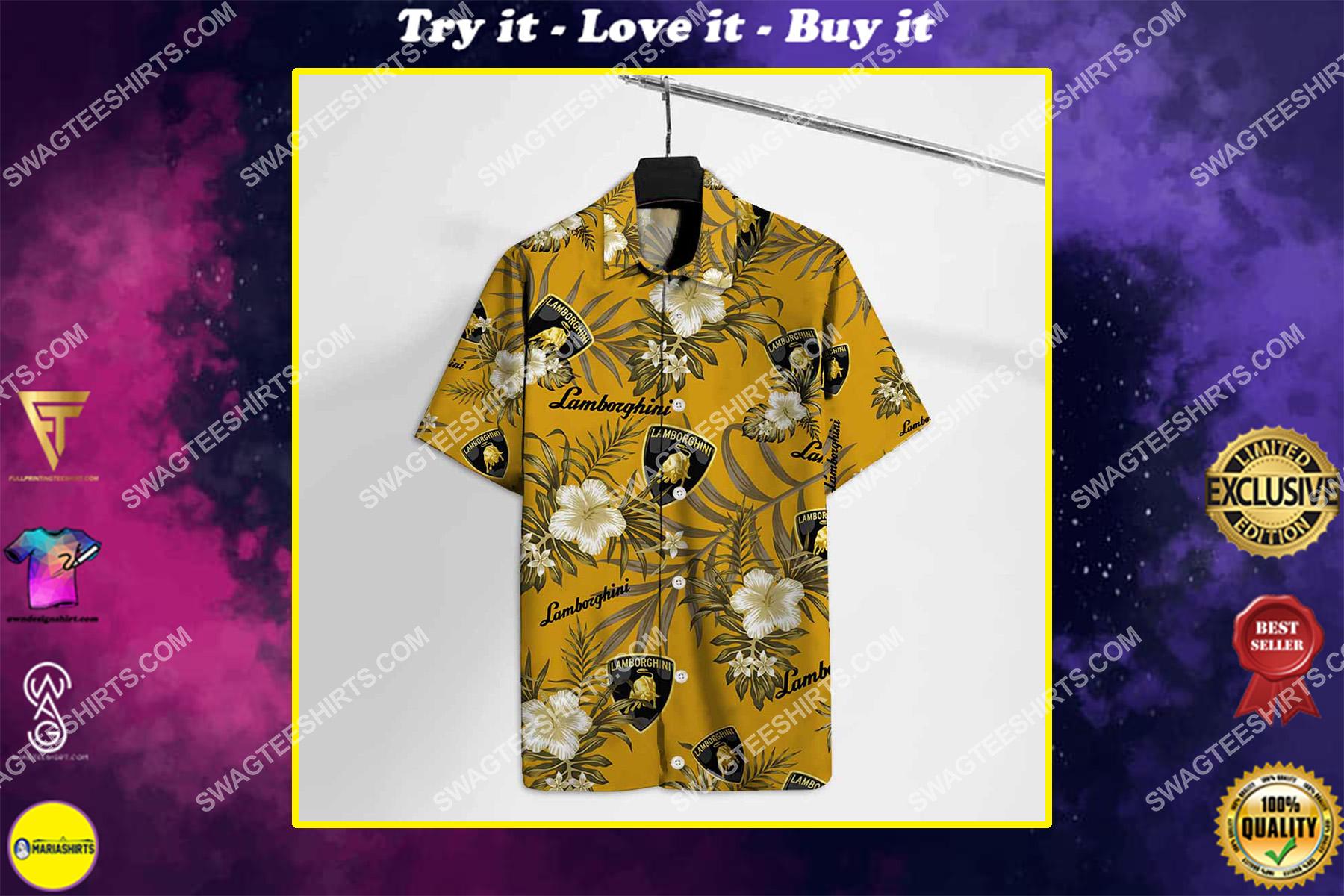 lamborghini logo all over print hawaiian shirt