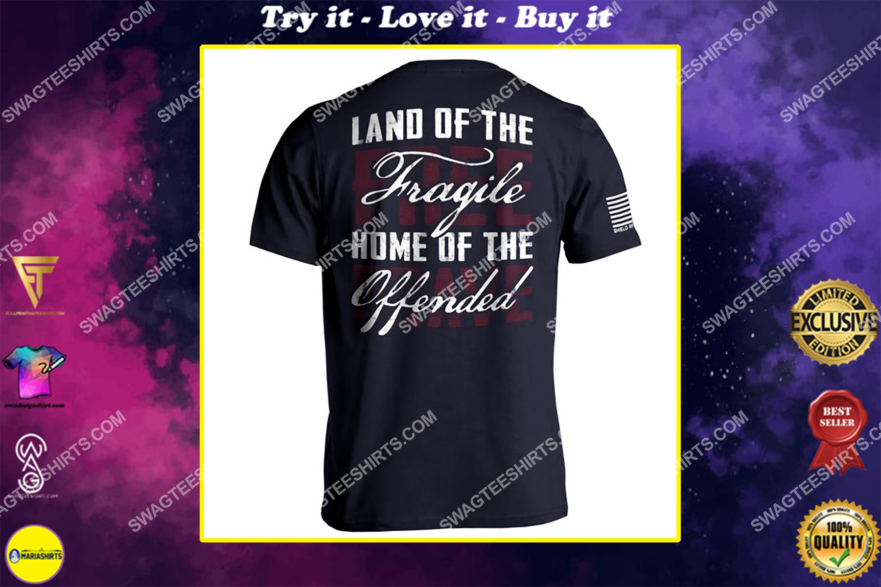 land of the fragile home of the offended political shirt