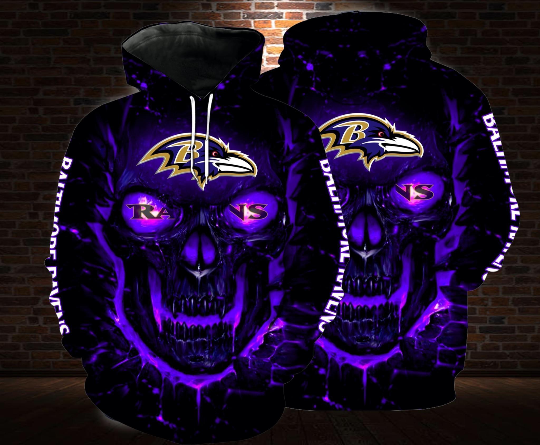 lava skull baltimore ravens football team full over printed hoodie 1