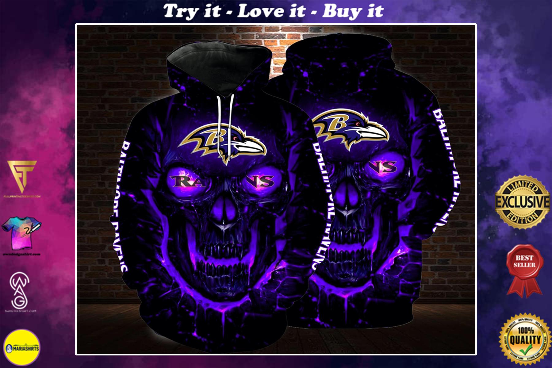 lava skull baltimore ravens football team full over printed shirt