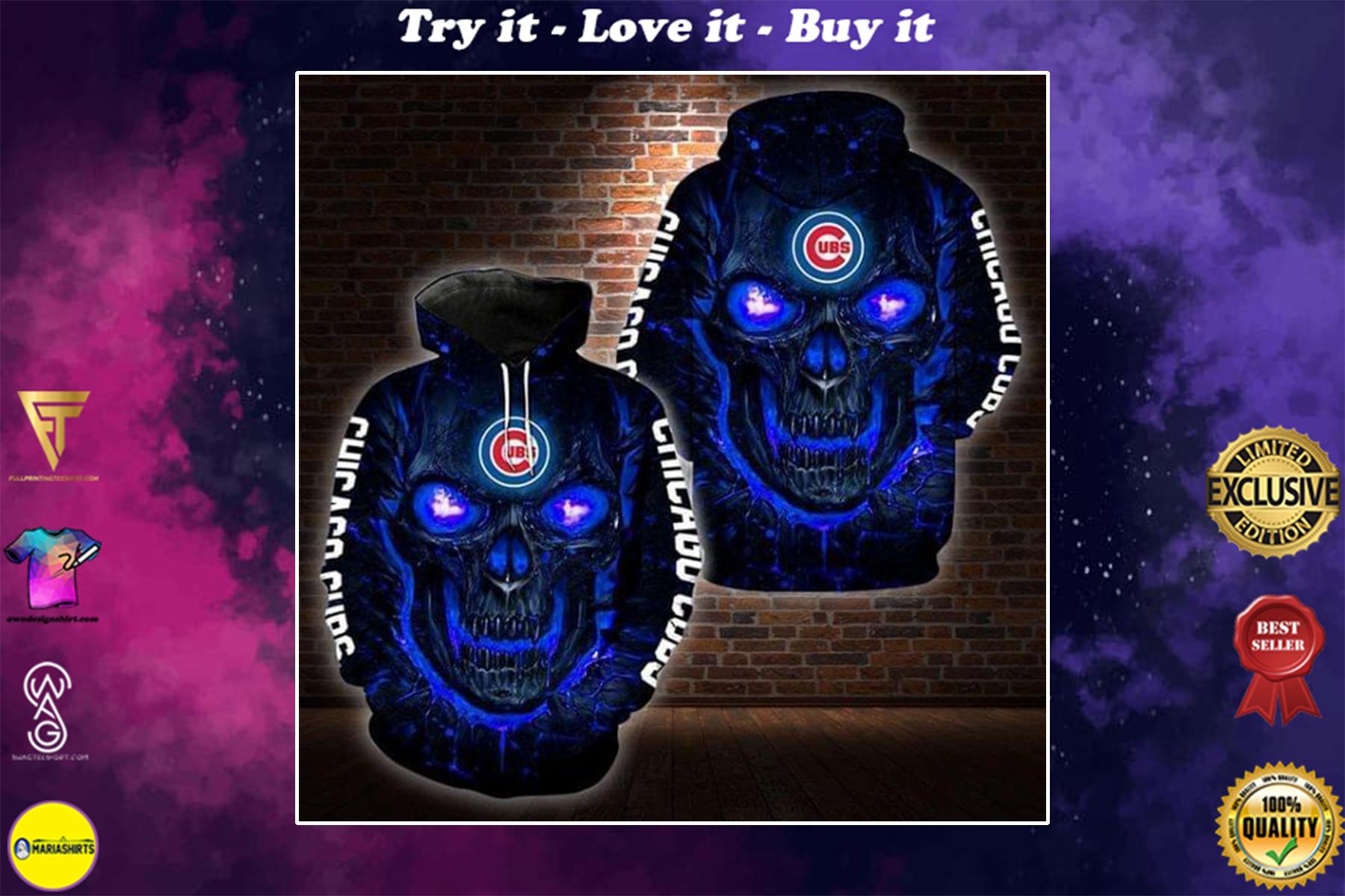 lava skull major league baseball chicago cubs full over printed shirt