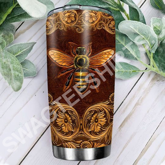 leather bee all over printed stainless steel tumbler 2(1)