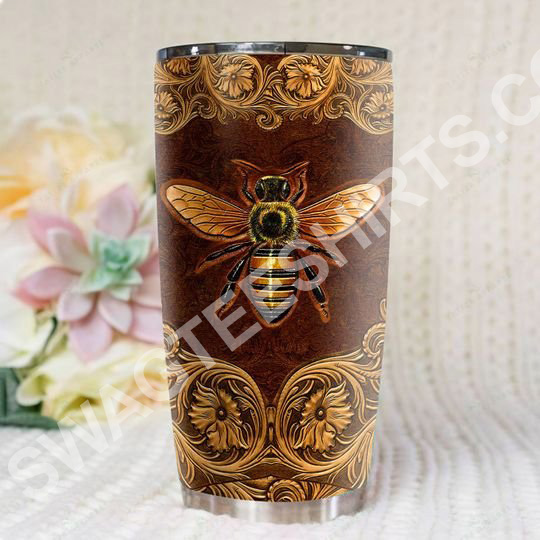 leather bee all over printed stainless steel tumbler 3(1)