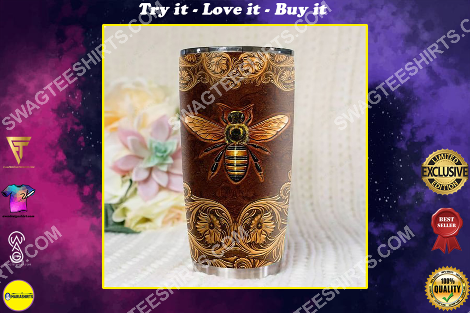 leather bee all over printed stainless steel tumbler