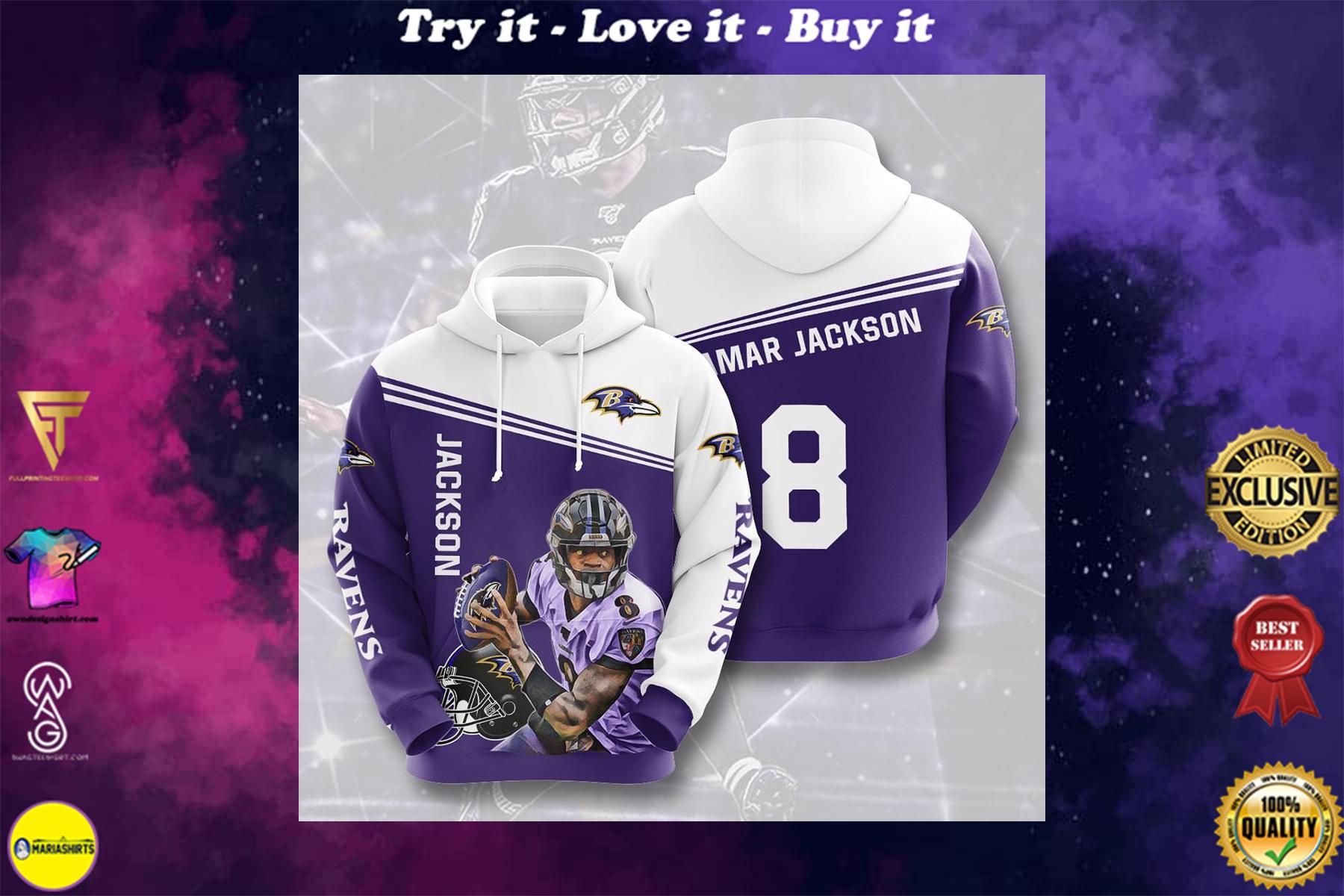 legend lamar jackson baltimore ravens 8 full over printed shirt