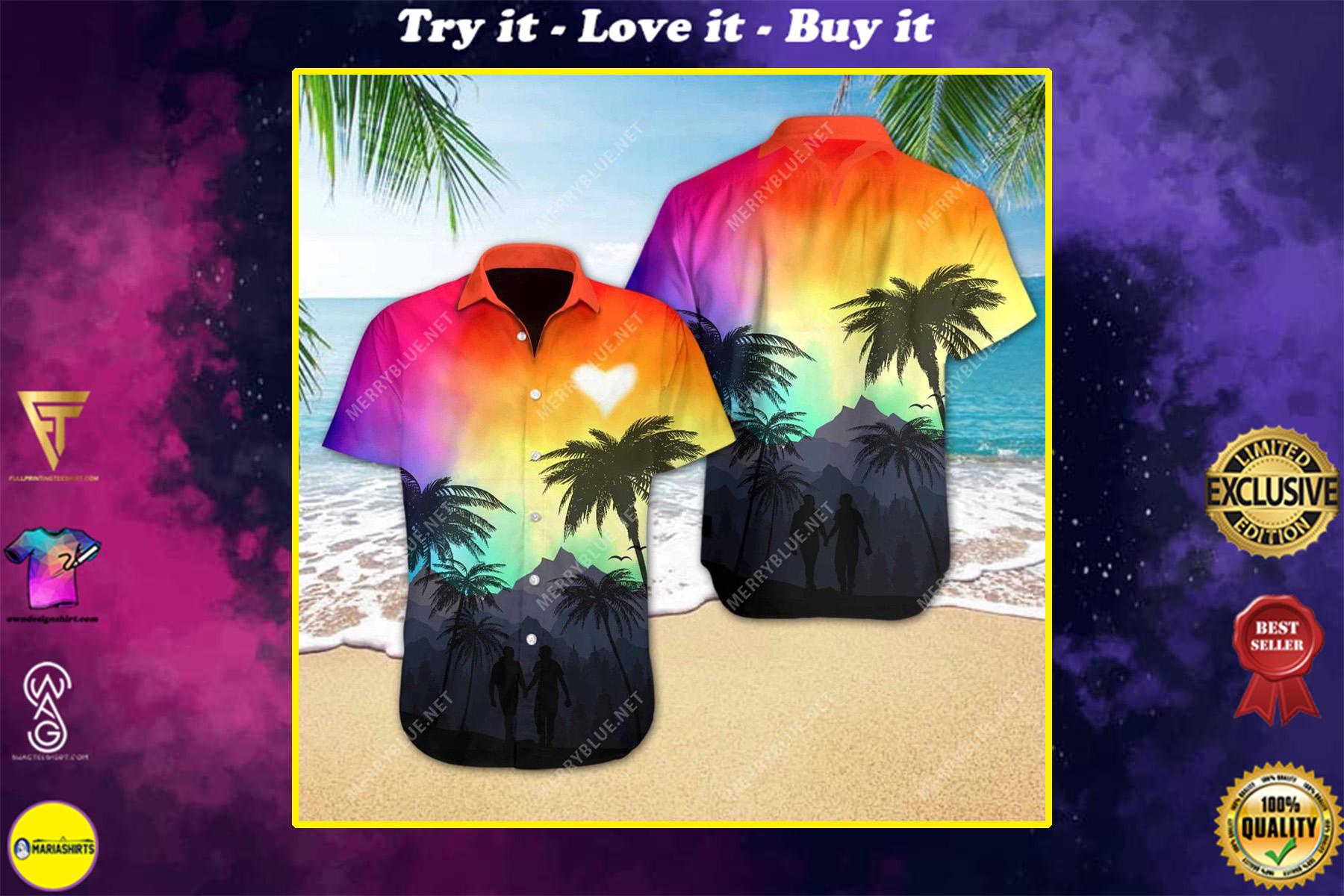 lgbt love all over printed hawaiian shirt