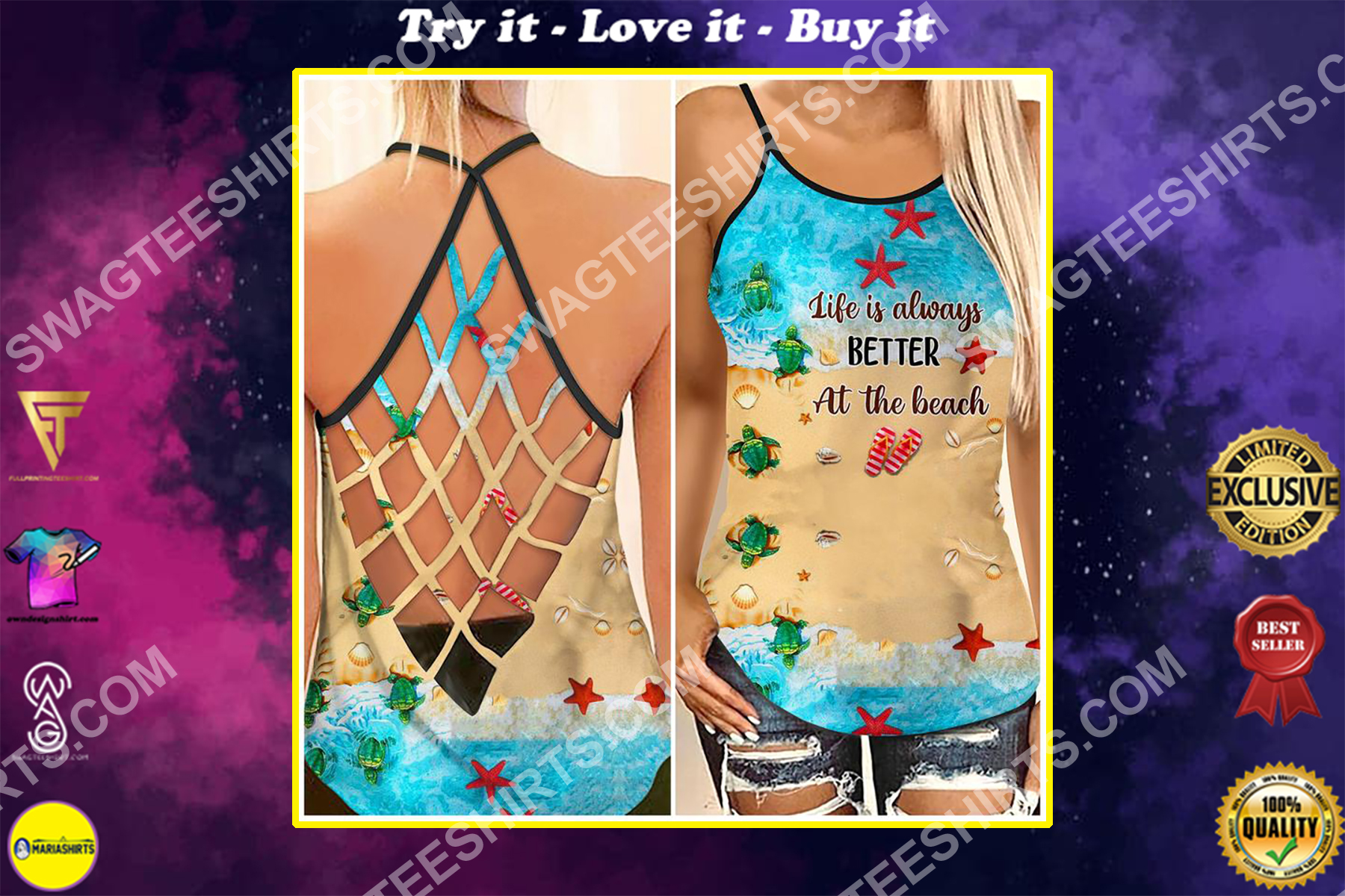 life is always better at the beach strappy back tank top