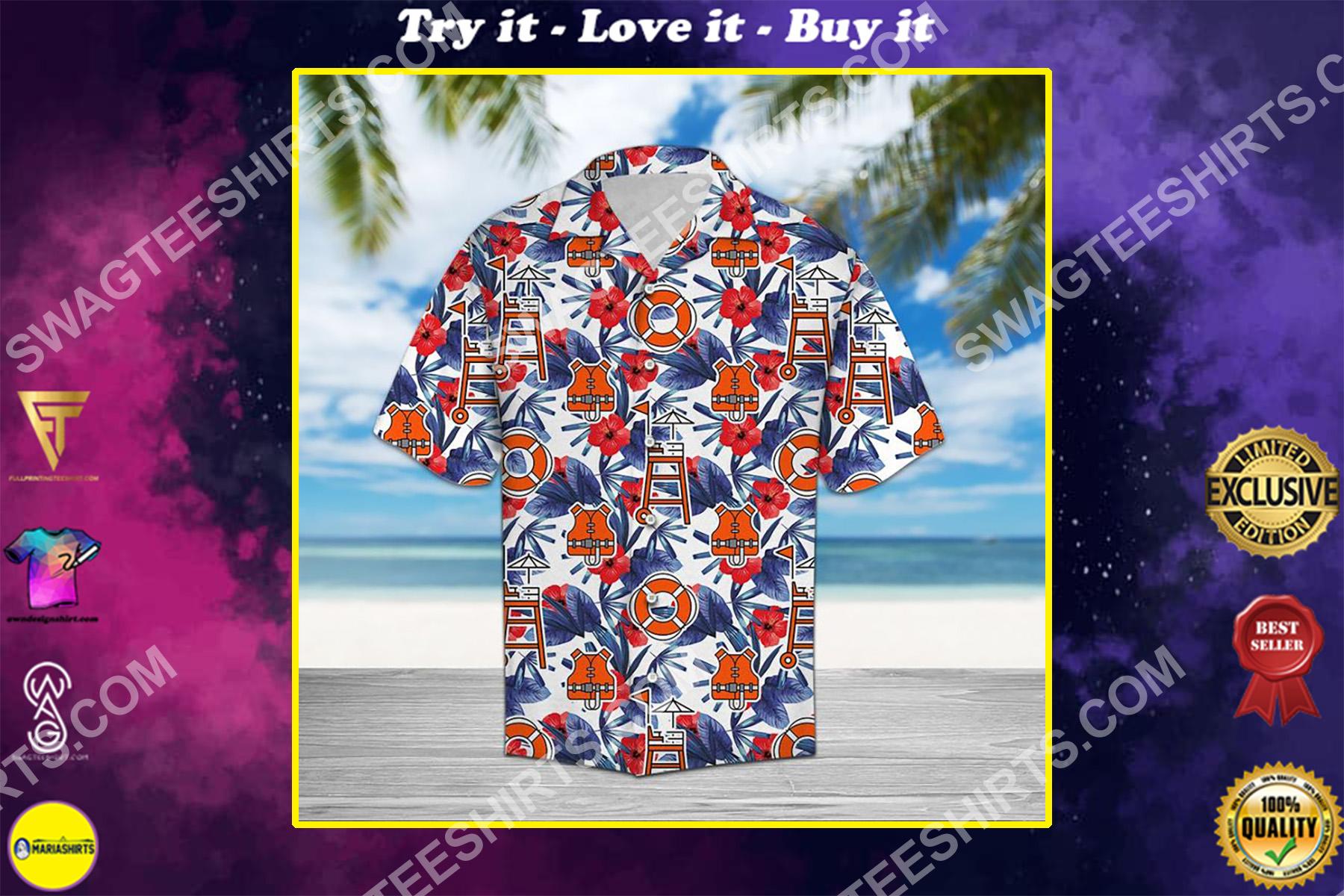 lifeguard palm all over printed hawaiian shirt
