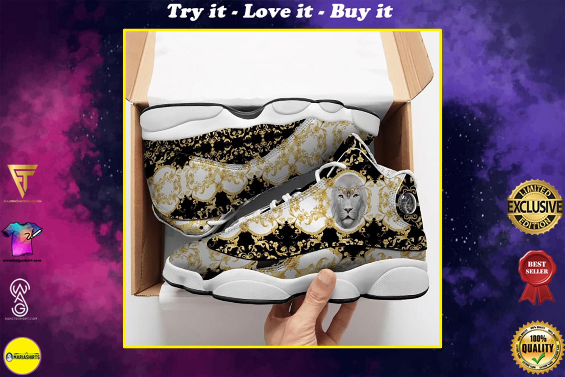 lion golden all over printed air jordan 13 sneakers