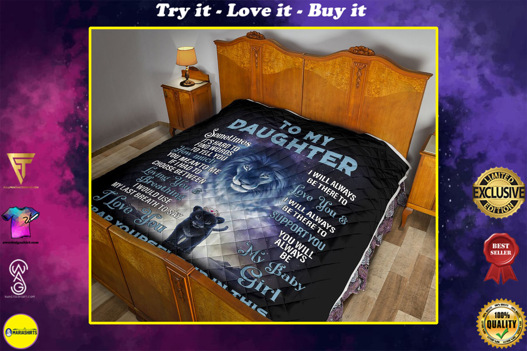 lion to my daughter i love you my baby girl love dad full printing quilt