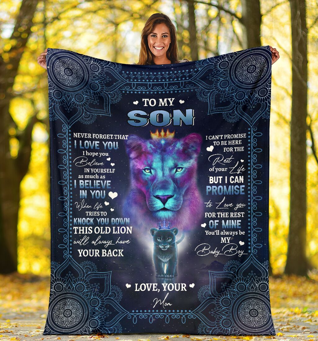 lion to my son i believe in you your mom full printing blanket 4