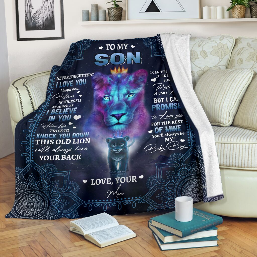 lion to my son i believe in you your mom full printing blanket 5