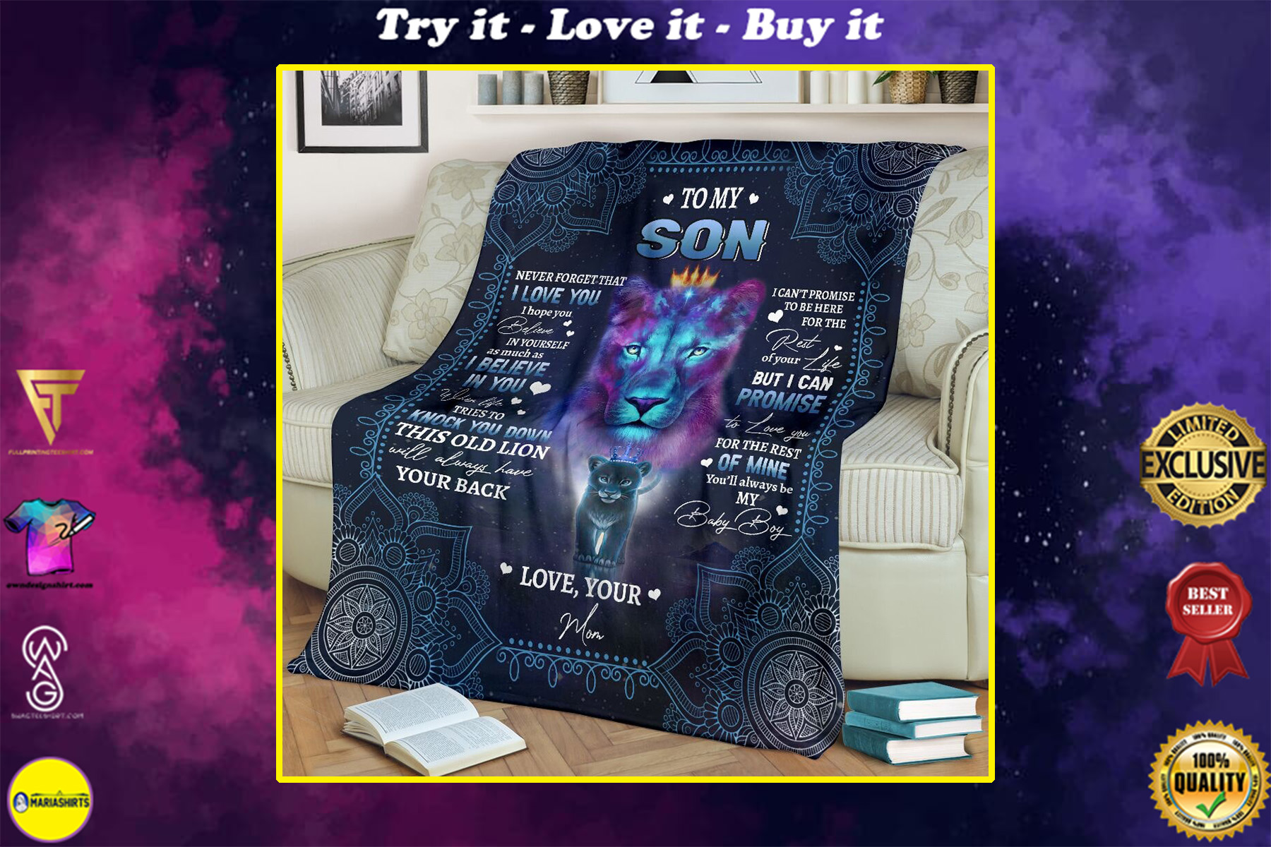 lion to my son i believe in you your mom full printing blanket