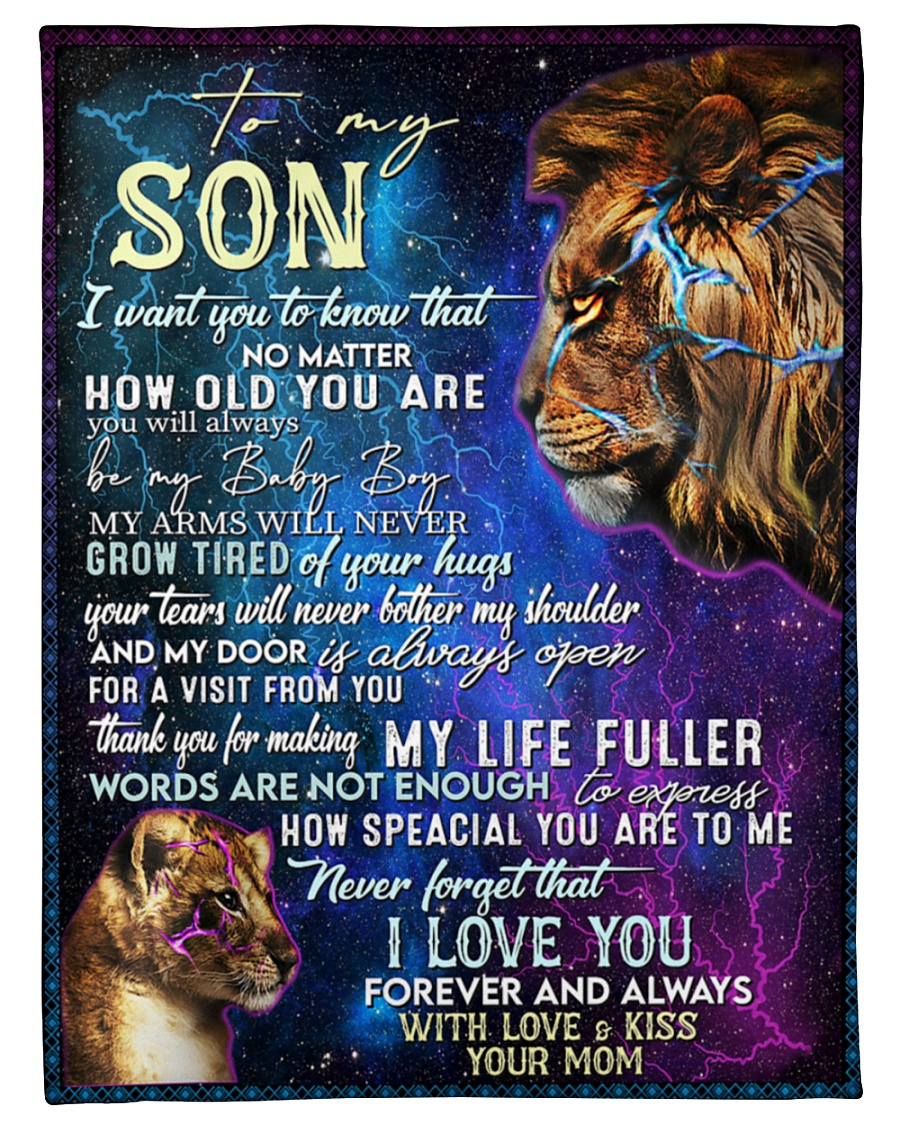 lion to my son i love you forever and always with love and kiss your mom blanket 2