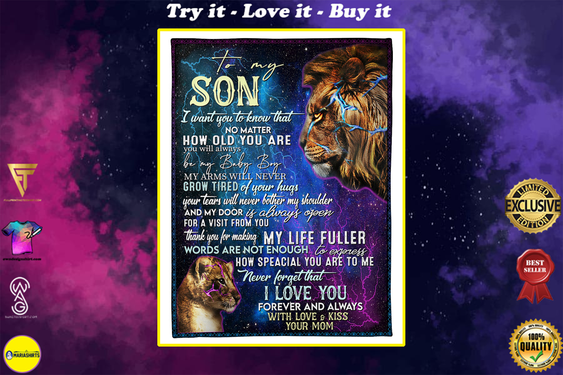 lion to my son i love you forever and always with love and kiss your mom blanket