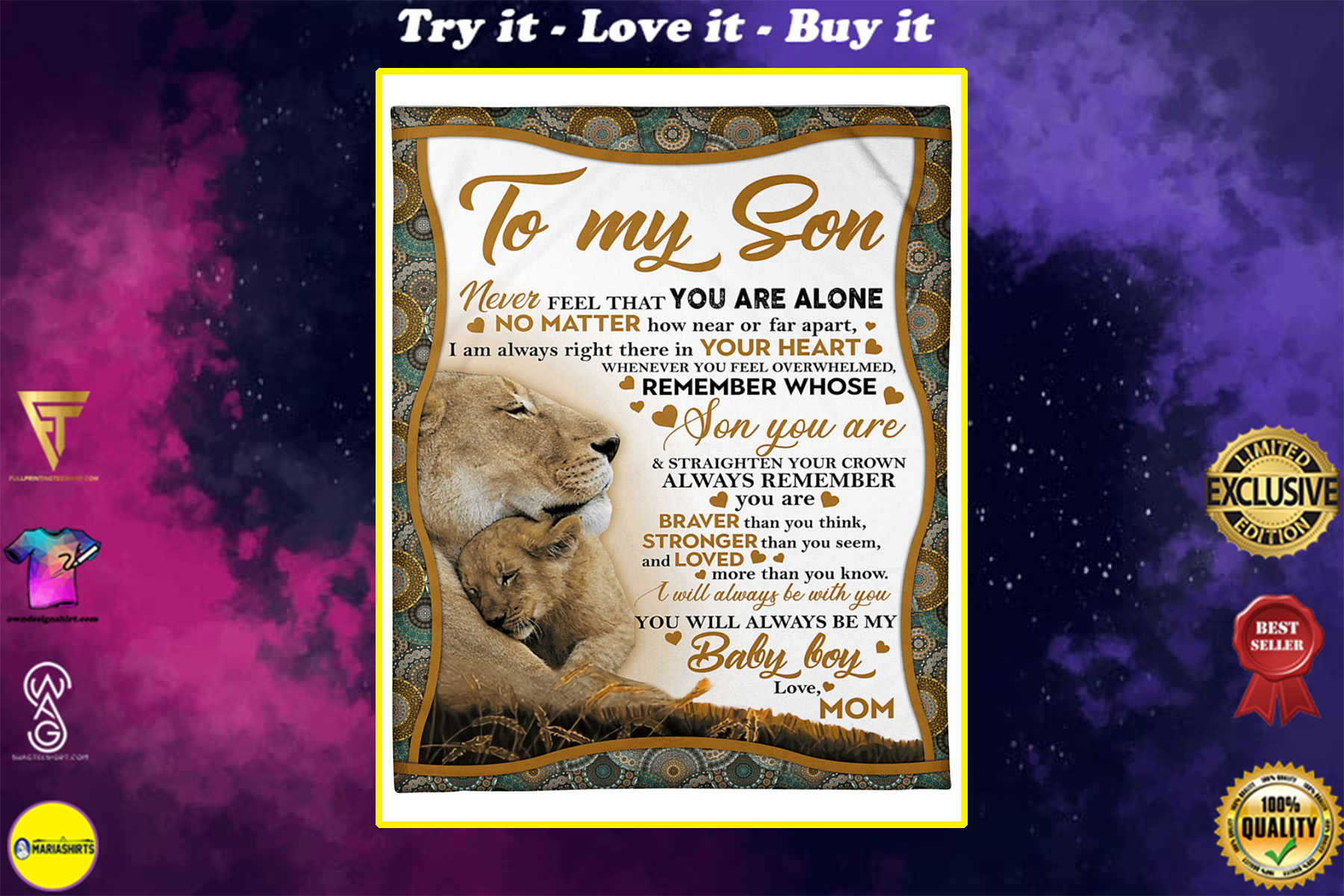 lion to my son i will always be with you your mom blanket