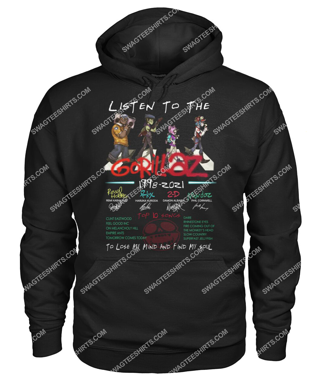 listen to the gorillaz to lose my mind and find my soul hoodie 1