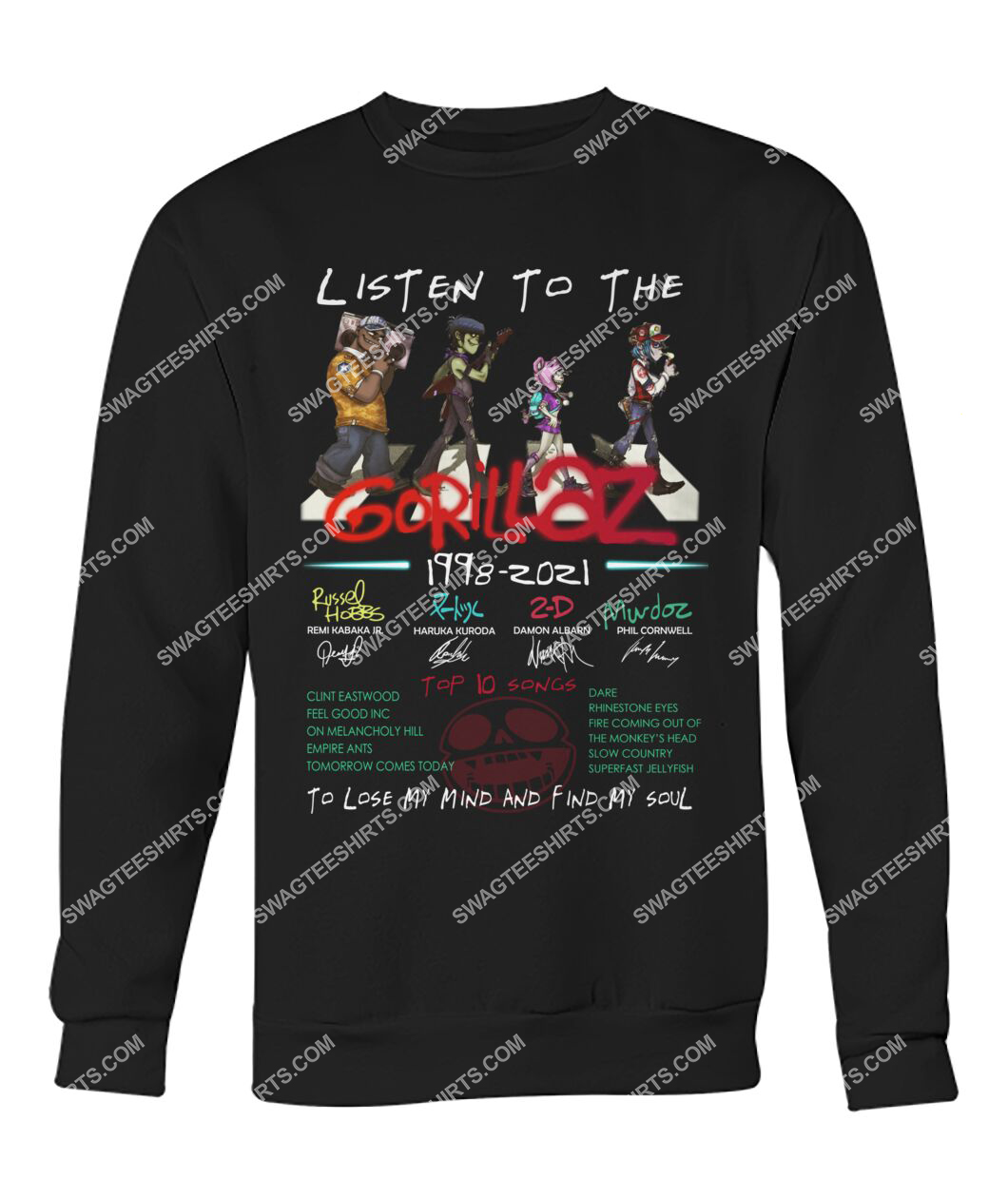 listen to the gorillaz to lose my mind and find my soul sweatshirt 1