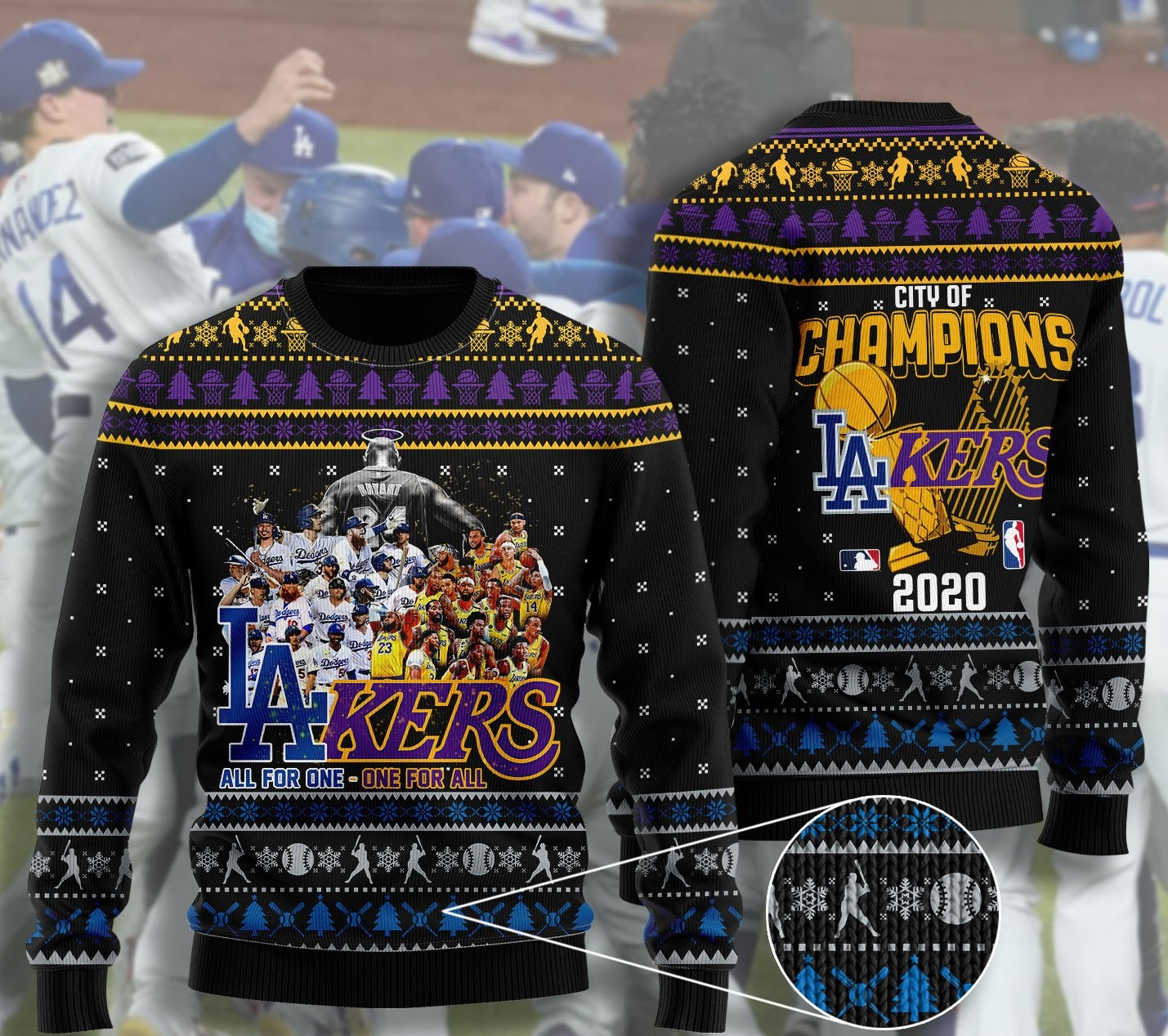 los angeles dodgers and los angeles lakers ugly christmas sweater 2