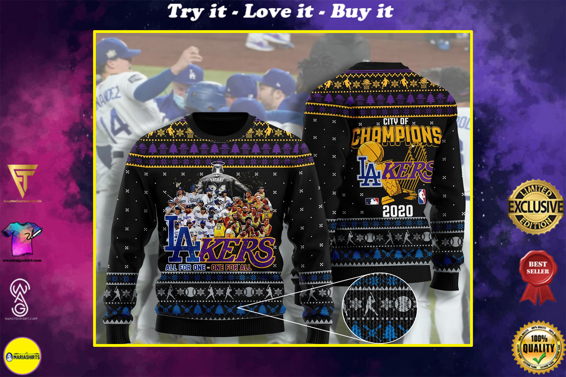 los angeles dodgers and los angeles lakers ugly christmas sweater