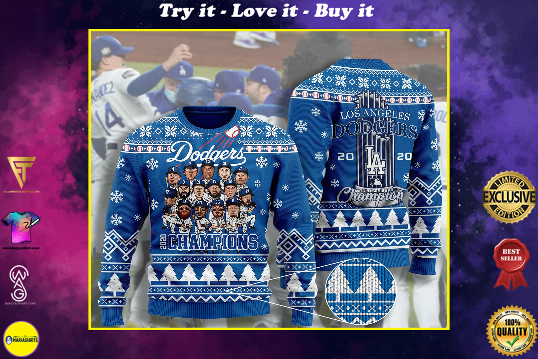 los angeles dodgers champions 2020 ugly christmas sweater
