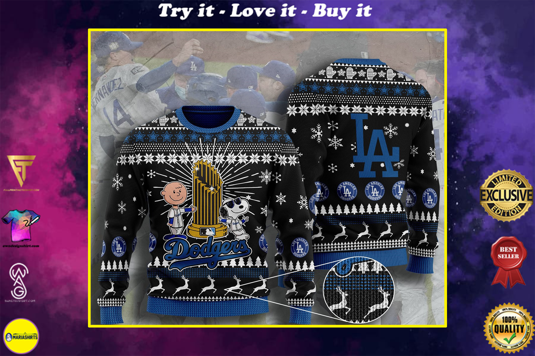 los angeles dodgers charlie brown and snoopy ugly christmas sweater