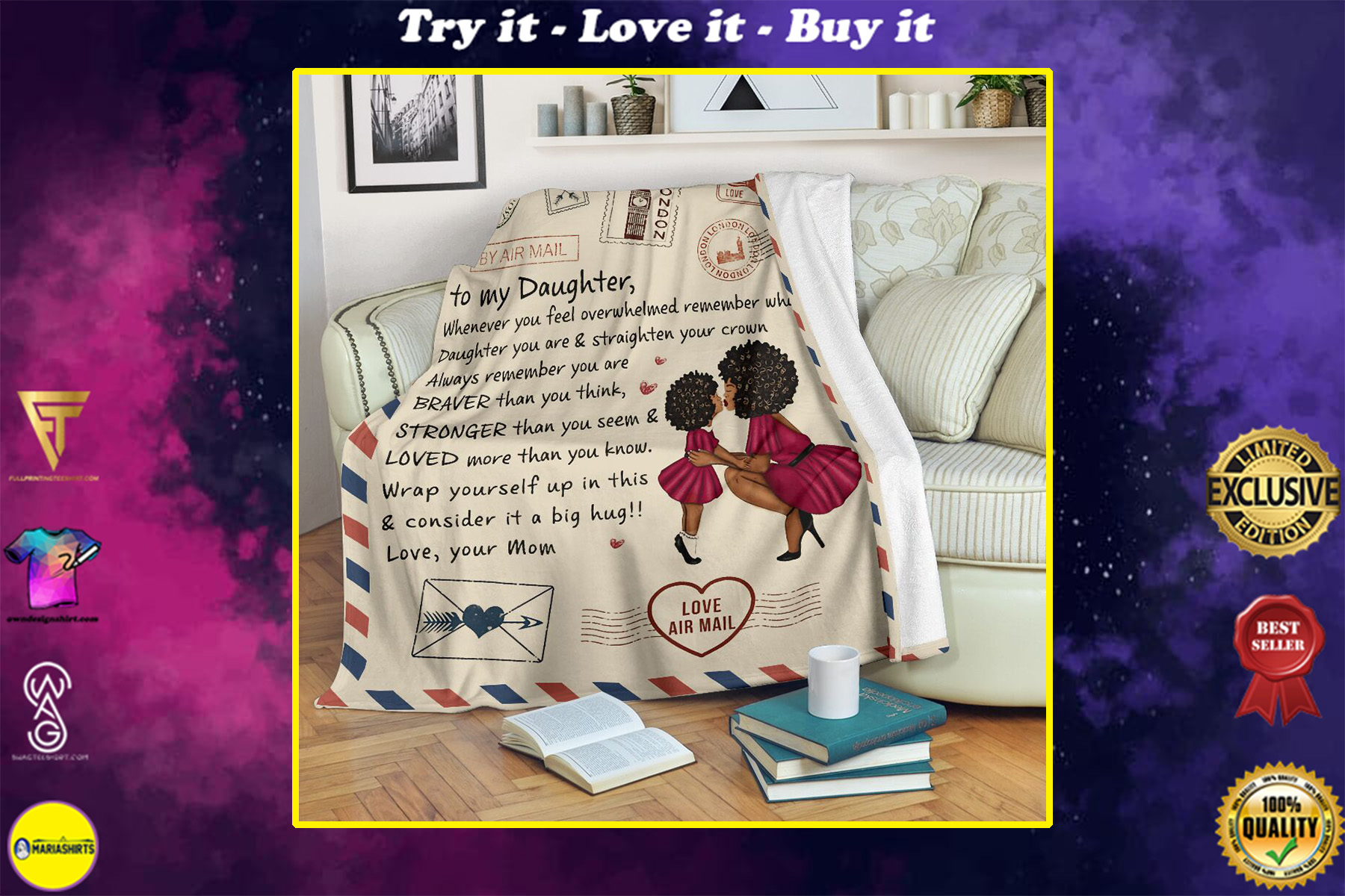 love air mail to my daughter whenever you feel overwhelmed love mom full printing blanket
