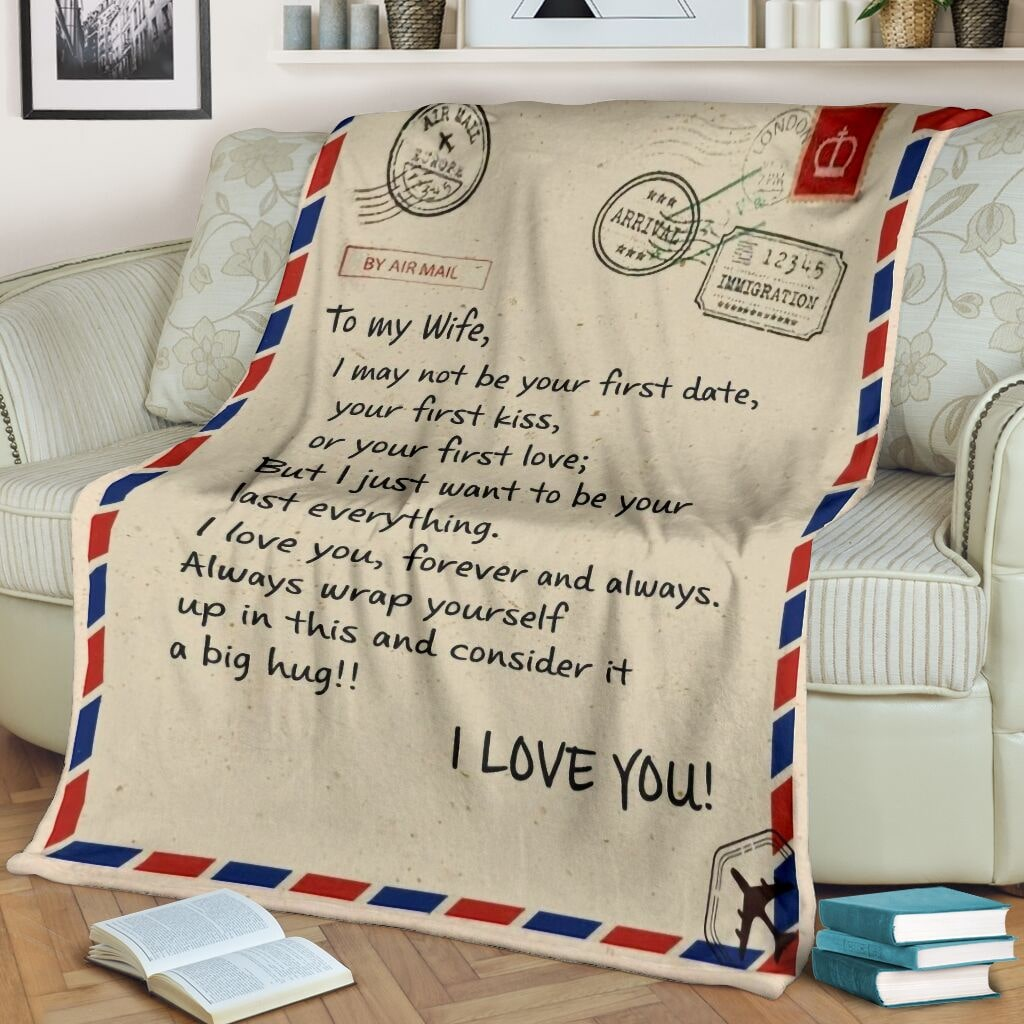 love air mail to my wife i love you forever and always full printing blanket 2