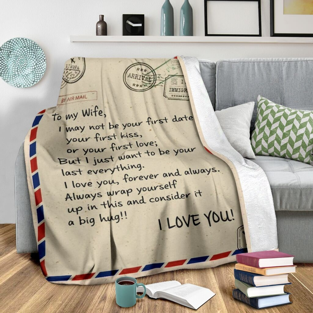 love air mail to my wife i love you forever and always full printing blanket 3