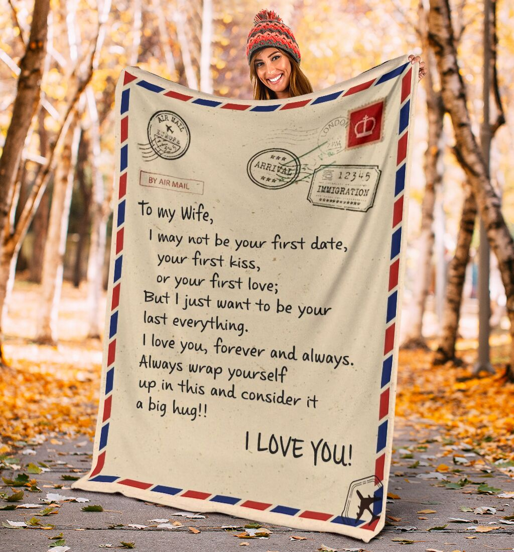 love air mail to my wife i love you forever and always full printing blanket 4