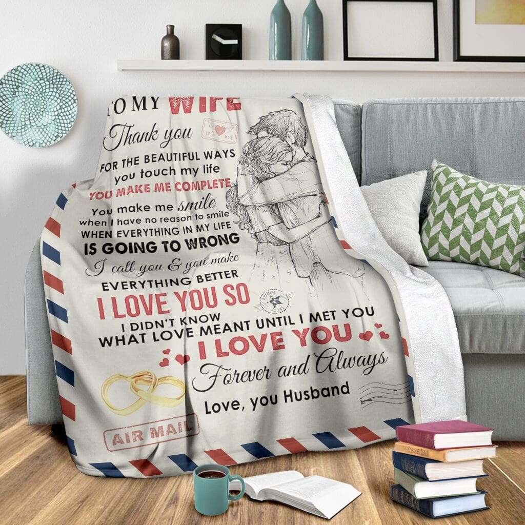 love air mail to my wife you make me complete i love you full printing blanket 3